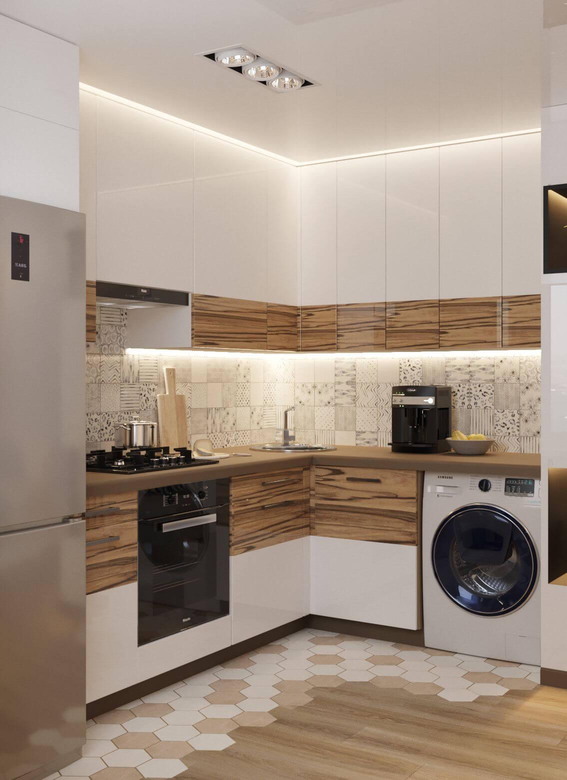 Угловая кухня в хрущевке со стиральной машиной