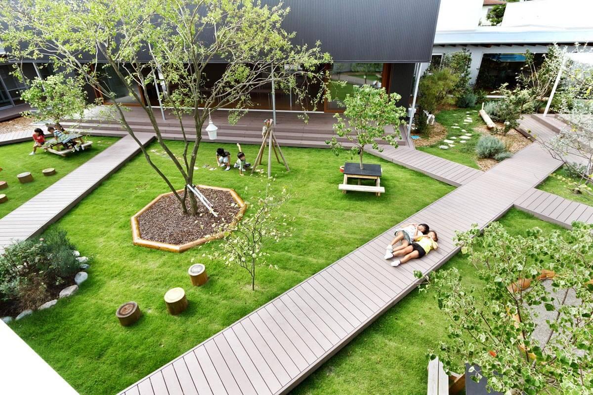 красивый дизайн двора частного дома своими руками