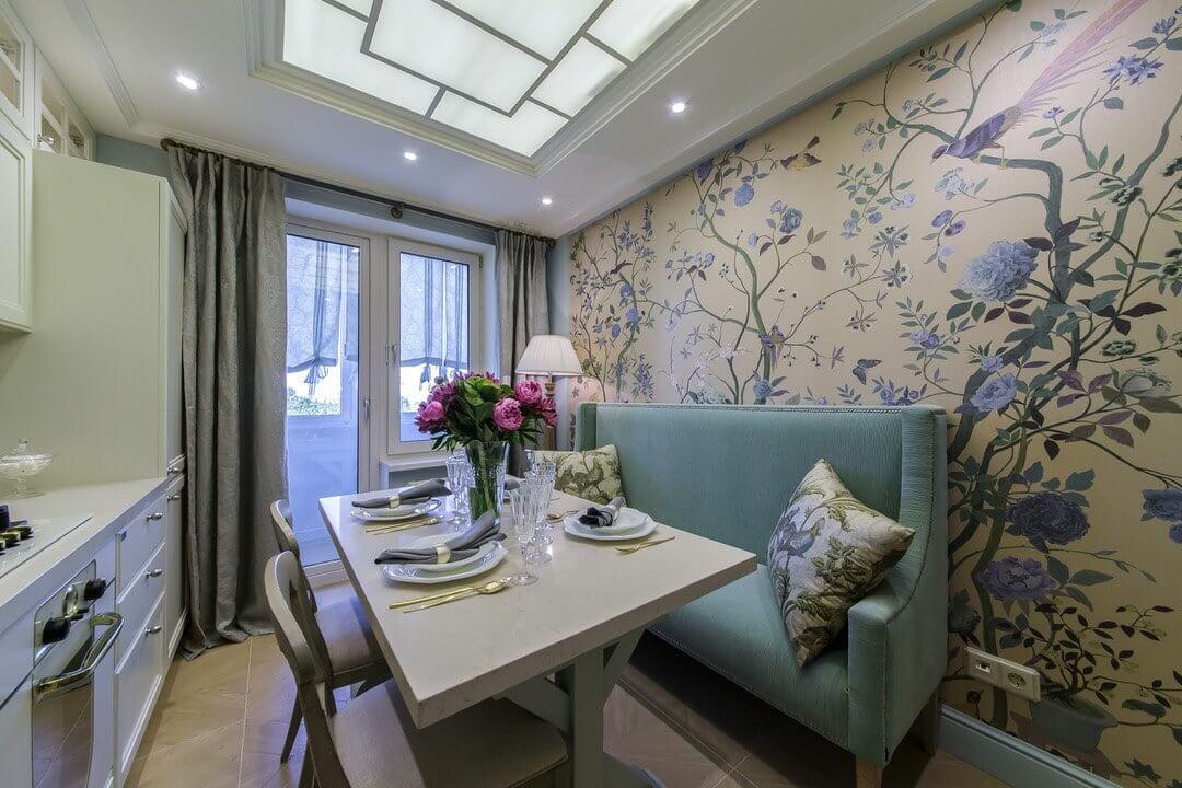 дизайн кухни 12 кв м с балконом и диваном