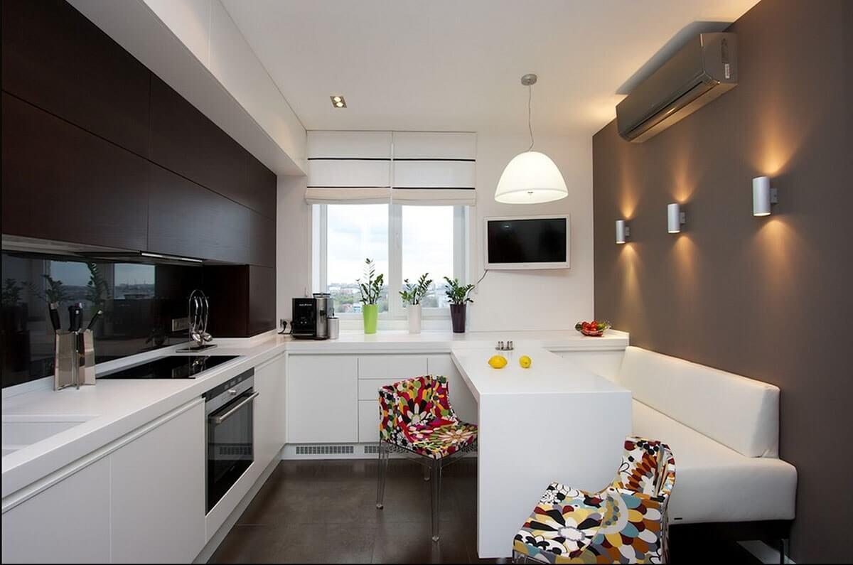 дизайн кухни 12 кв метров с диваном