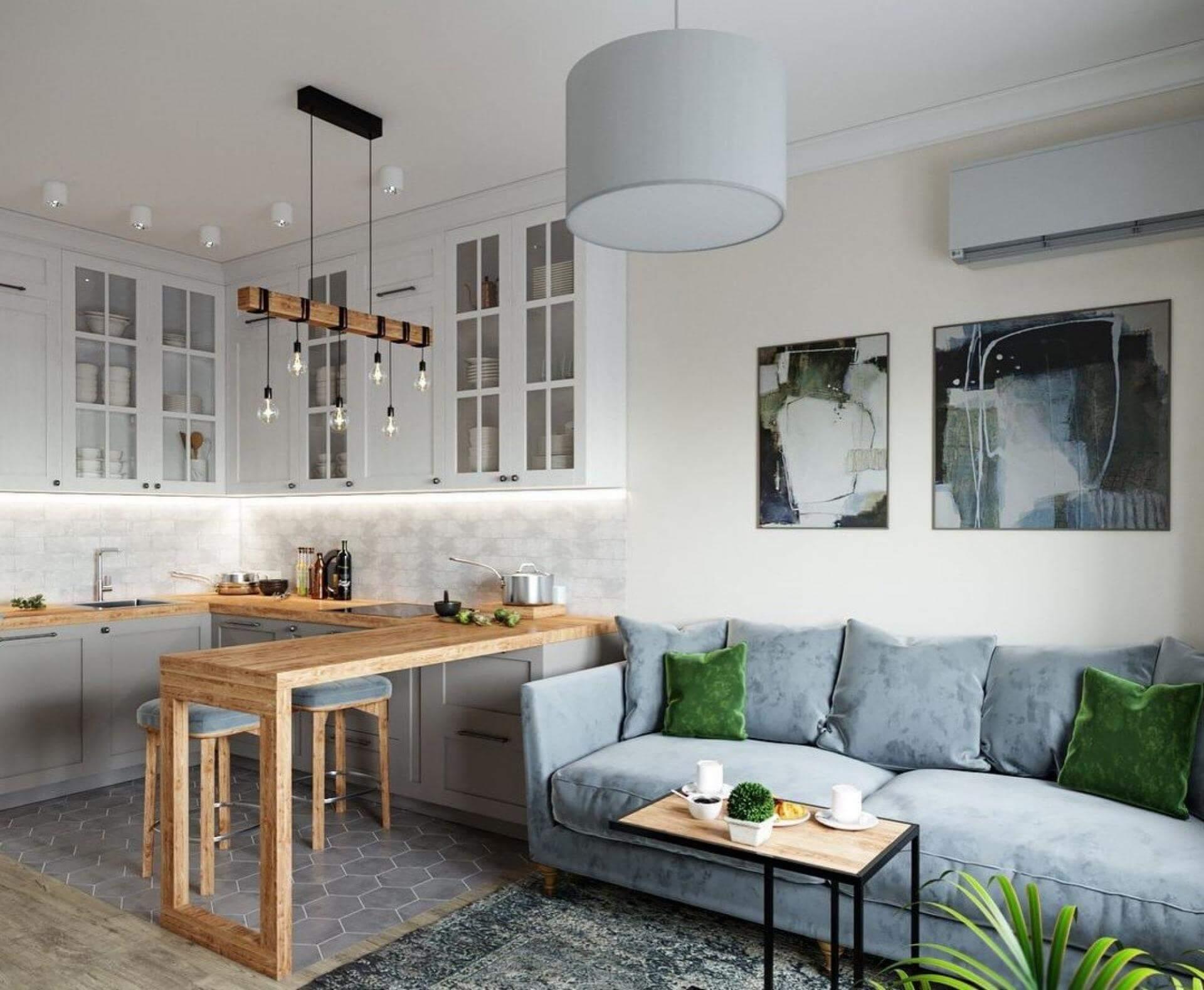 дизайн проект кухни гостиной 12 кв м