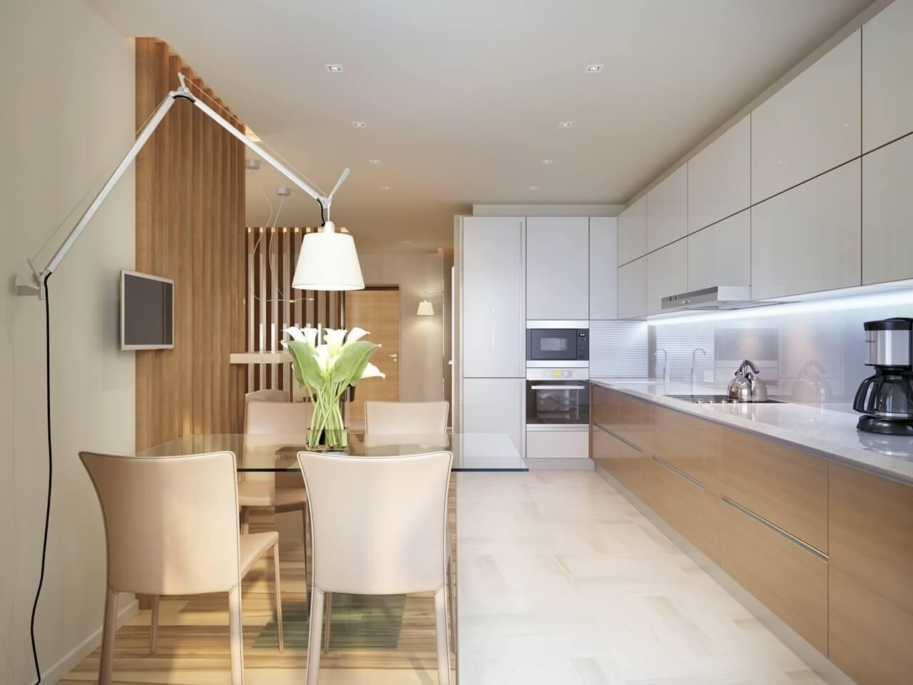 дизайн прямоугольной кухни 12 метров