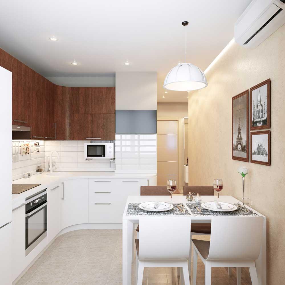 прямоугольная кухни 12 метров