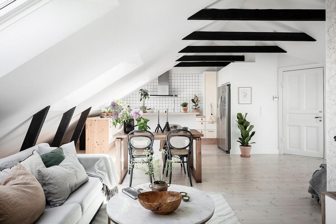интерьер квартир на мансардном этаже