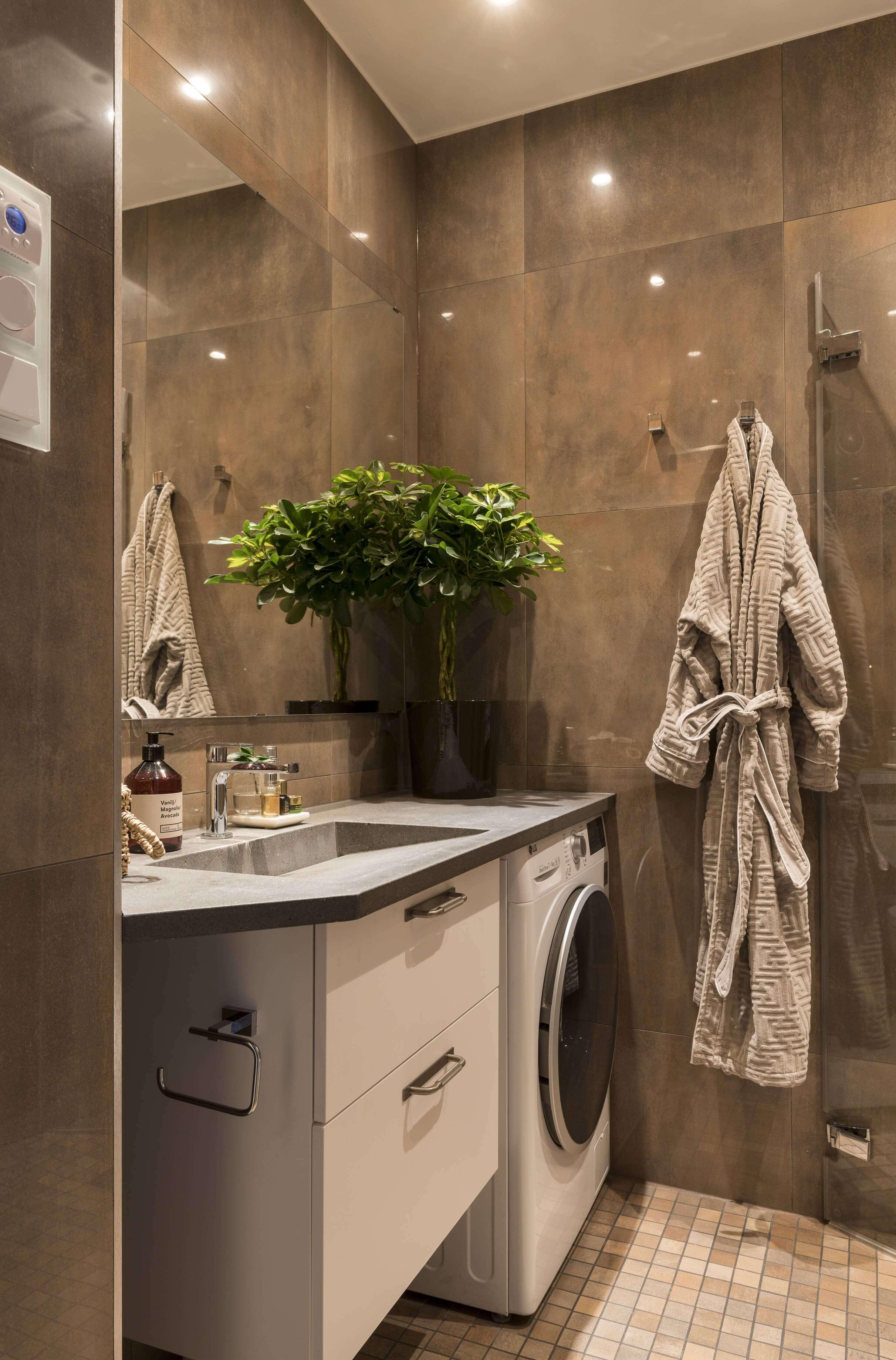 дизайн ванной комнаты со стиральной машиной