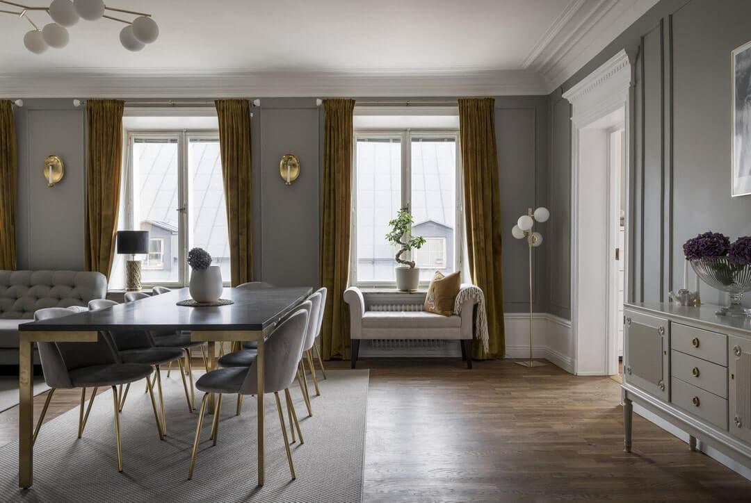 гостиная-столовая в классическом стиле