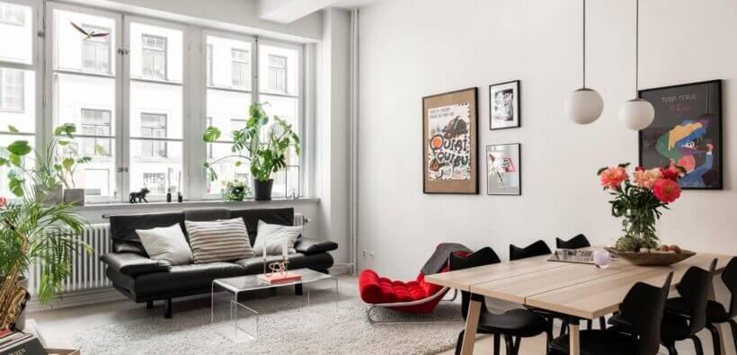 Строгий минимализм и яркие цвета в одной квартире