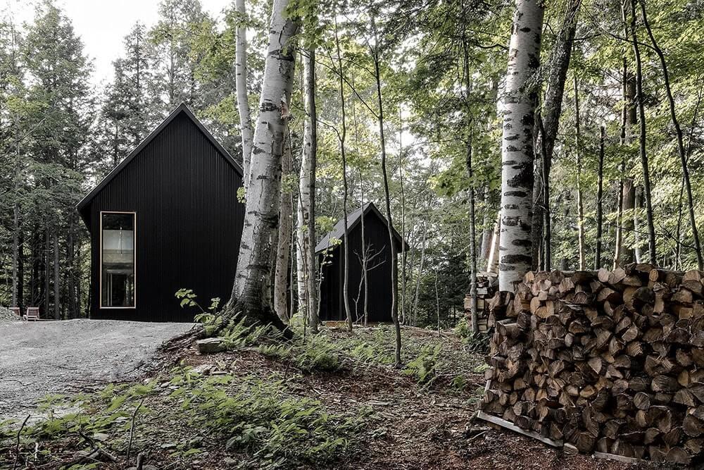 дом в лесу у озера