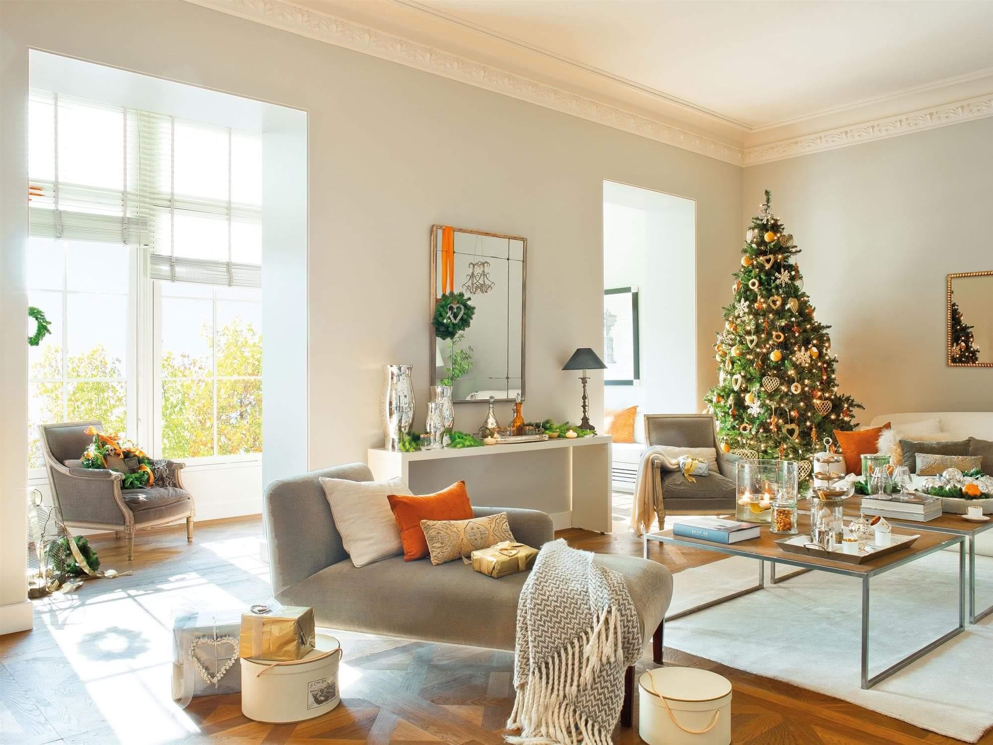 украшение гостиной к новому году