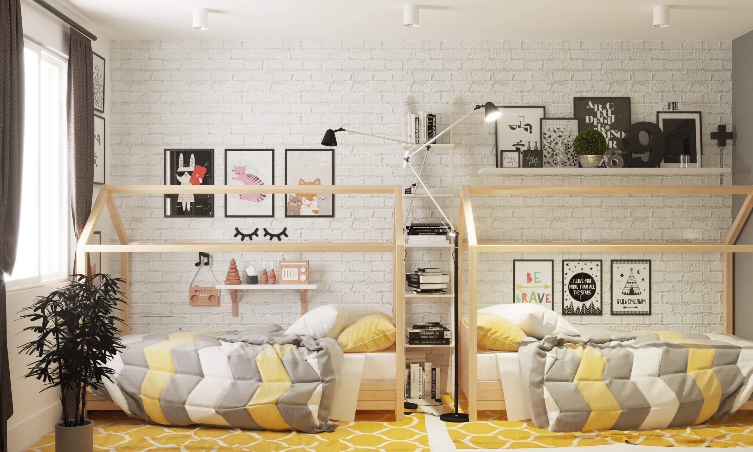 детская комната для троих детей разного возраста