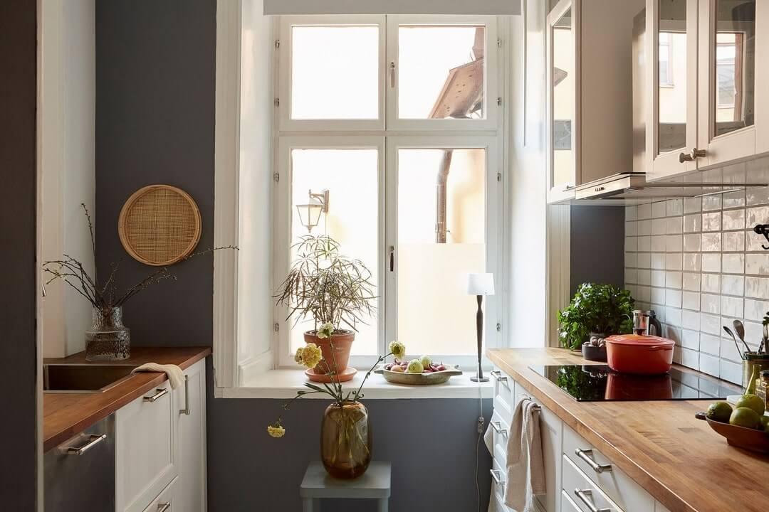 дизайн кухни серая