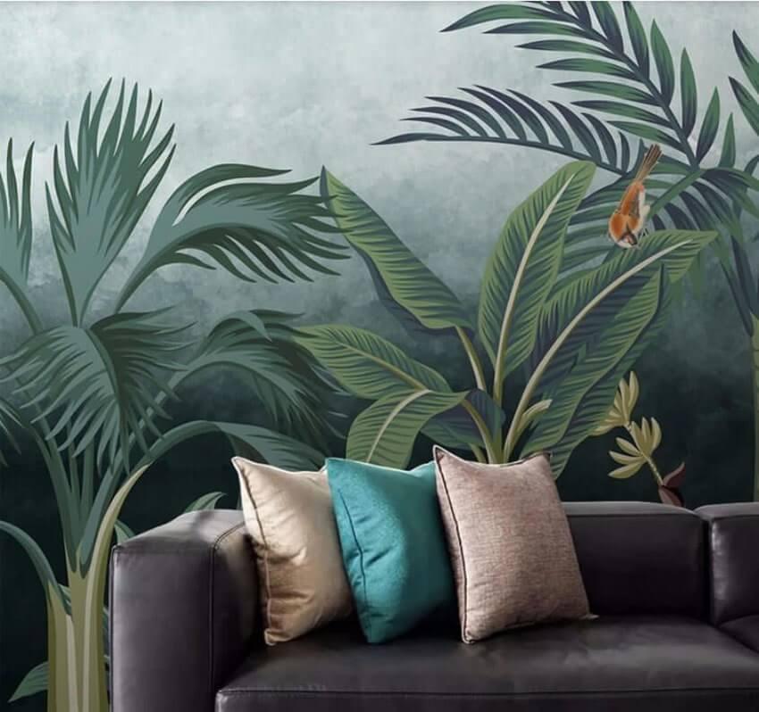 Фотообои для гостиной с тропическими растениями