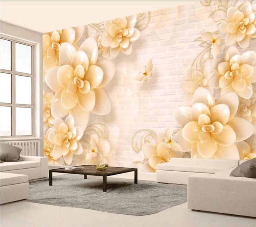 Фотообои для зала с бежевыми цветами