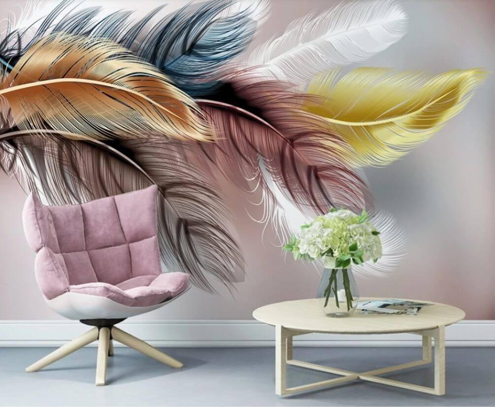 Красочные 3D-обои с перьями для гостиной